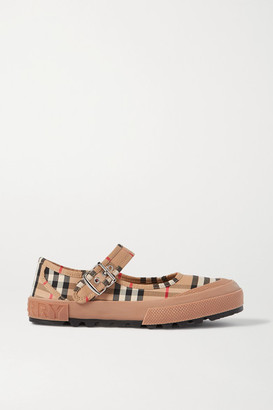 Burberry Rubber-trimmed Checked Canvas Flats - Beige