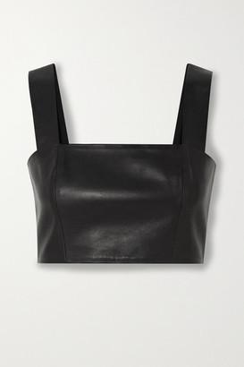 Balmain Cropped Leather Top - Black