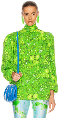 Balenciaga Twisted Blouse in Green   FWRD