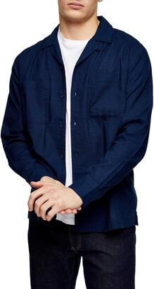 Topman Long Sleeve Button-Up Camp Shirt