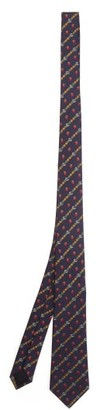 Gucci Gg, Strawberry And Pineapple Silk-jacquard Tie - Mens - Navy