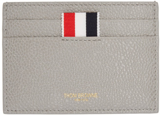 Thom Browne SSENSE Exclusive Grey Leather Card Holder