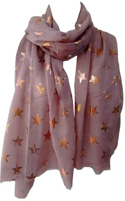 GlamLondon Stars Scarf Rose Gold Glitter Foil Antique Star Print Ladies Party Wedding Fashion Wrap (Dark Black)