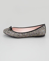 RED Valentino Glitter Patent-Bow Ballerina Flat