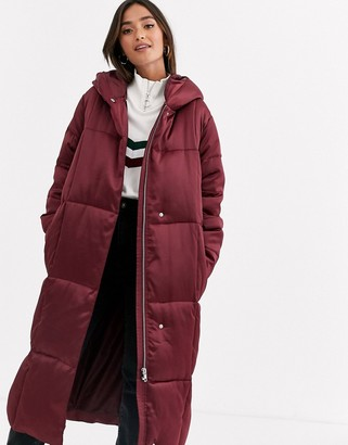 Asos Design DESIGN longline puffer coat in oxblood-Grey