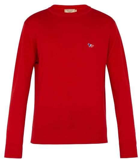 MAISON KITSUNÉ Fox Motif Wool Sweater - Mens - Red