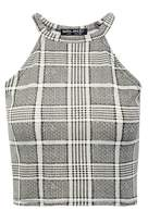 Select Fashion Fashion Womens Grey Prince Of Wales Halter Crop - size 12