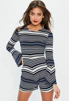 Missguided Petite Black Stripe Flare Sleeve Romper