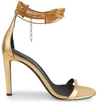 Giuseppe Zanotti Ankle-Cuff Metallic Leather Sandals