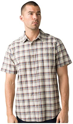 Prana Bryner Slim Fit Shirt (Dark Khaki) Men's Short Sleeve Button Up