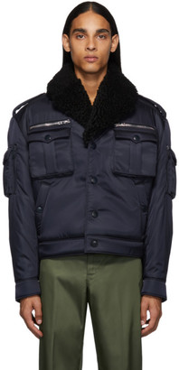 Prada Navy Shearling Field Bomber Jacket