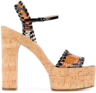 Casadei Embossed Chunky-Heel Sandals