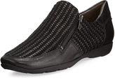 Sesto Meucci Gorgon Woven Zip Comfort Flat, Black