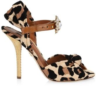 Dolce & Gabbana Embellished Leopard-Print Peep-Toe Sandals