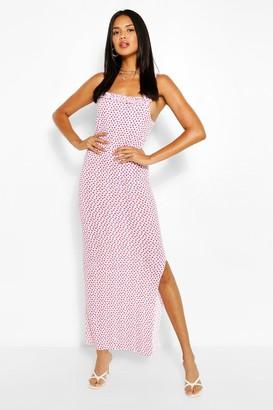 boohoo Heart Print Ruffle Maxi Dress