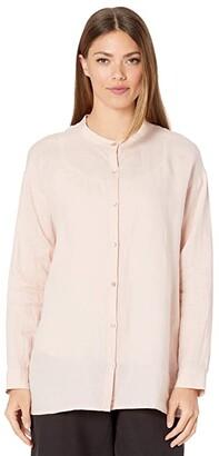 Eileen Fisher Organic Handkerchief Linen Mandarin Collar Shirt (Powder) Women's Clothing