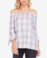 Vince Camuto TWO By Plaid Off-The-Shoulder Top