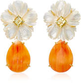 "Bounkit 14K Gold-Plated Carved White Mother of Pearl Flower"" Lemon Quartz and Red Oyster Shell Drop Earrings"