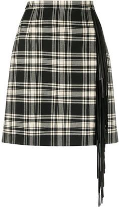 Michael Kors Collection Tassel-Detail Checked Mini Skirt