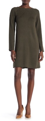 Max Studio Textured Long Sleeve Sweater Dress