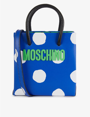Moschino Logo-print small leather cross-body bag