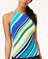 Nautica Coastline Stripe High-Neck Tankini Top Women's Swimsuit