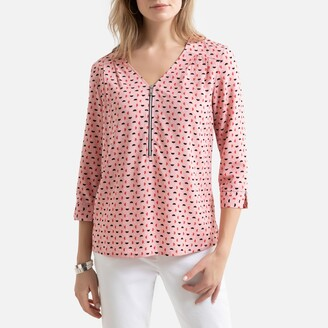 Anne Weyburn Graphic Print V-Neck Blouse with 3/4 Length Sleeves