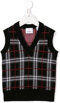 Burberry check knitted vest