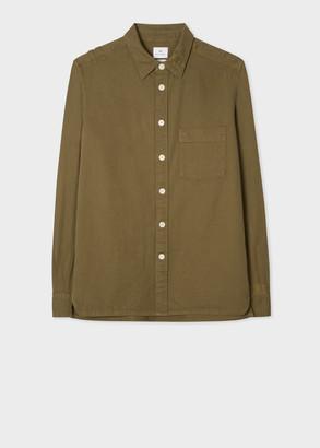Men's Khaki Classic-Fit Cotton-Stretch Shirt