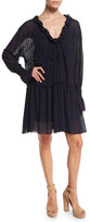 See by Chloe Long-Sleeve Smocked Voile Shift Dress, Navy