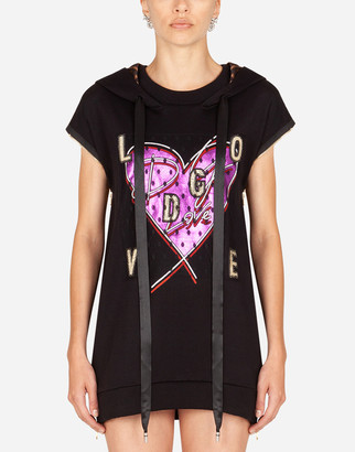 Dolce & Gabbana Jersey Sweatshirt With Heart Print And Love Patch Embellishment