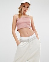 Daisy Street Crop Top In Rib With Button Detail
