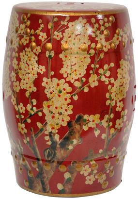 Oriental Furniture Handmade Green Birds and Flowers Porcelain Barrel Shaped Stool