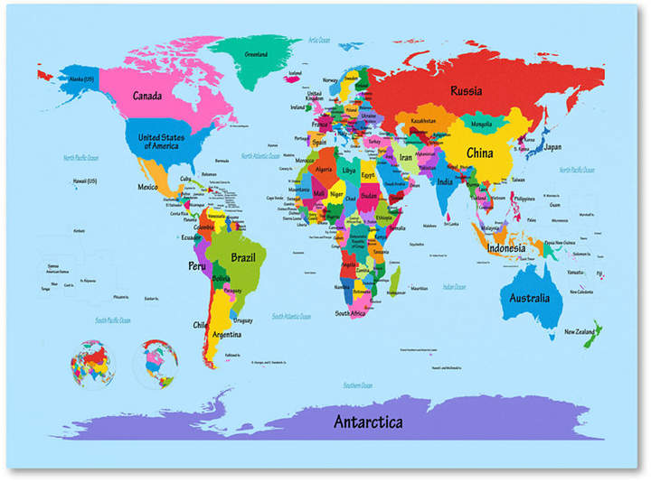 Australia Global Map.Trademark Global Michael Tompsett Children S World Map 30 X 47 Canvas Art Print