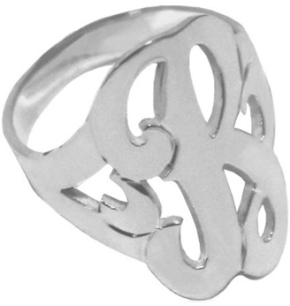 Jane Basch Silver Single Initial Ring (A-Z)