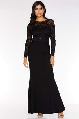 Quiz Black Sequin Lace Long Sleeve Maxi Dress