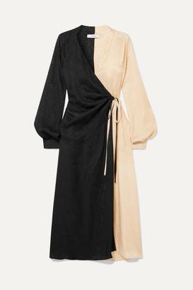 ART DEALER Ruched Two-tone Silk-jacquard Wrap Dress - Black
