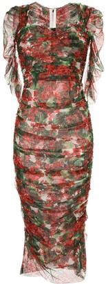 Dolce & Gabbana Portofino Print Tulle Midi Dress