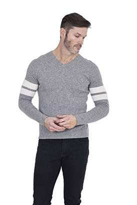 Cashmeren Men's Fashion V-Neck Sweater 100% Pure Cashmere Casual Long Sleeve Vee Pullover (