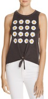 Chaser Tie Front Daisy Graphic Muscle Tee