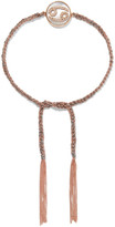 Carolina Bucci Cancer Lucky Zodiac 18-karat Rose Gold, Diamond, Mother-of-pearl And Silk Bracelet - one size