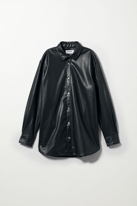 Weekday Callen Faux Leather Shirt - Black