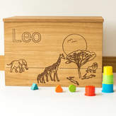 Little and Wild Personalised Safari Wooden Toy Box