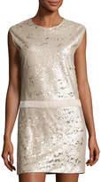 Halston Cap-Sleeve Sequined Shift Dress, Beige