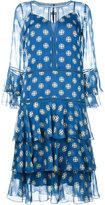 Alberta Ferretti ruffle dress with keyhole neckline