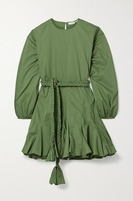 Rhode Resort Ella Pleated Cotton Mini Dress - Army green