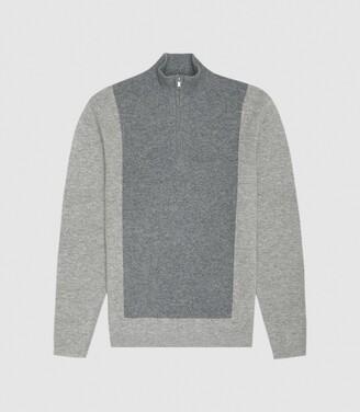 Reiss Boardman - Wool Cashmere Blend Zip Neck Jumper in Grey Melange