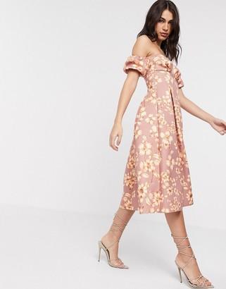 ASOS DESIGN floral bandeau bubble sleeve prom midi dress