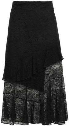 Cushnie Asymmetric Layered Lace Midi Skirt