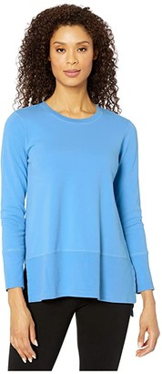 Mod-o-doc Cotton Interlock Long Sleeve Crew Neck Tunic With Rib Hem (Blue Bonnet) Women's Clothing